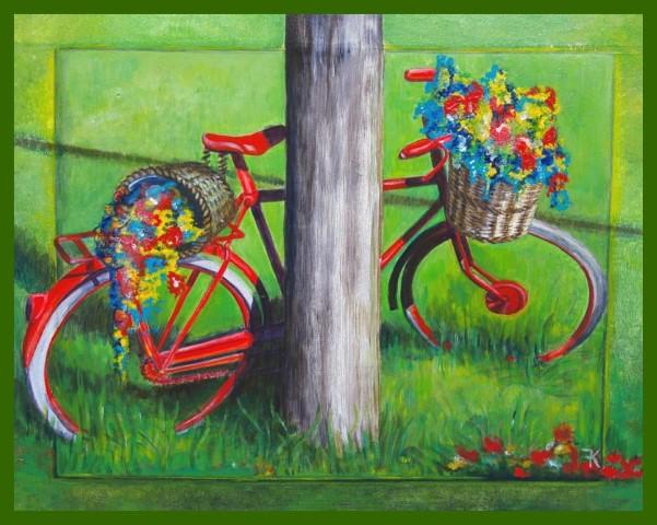 Deense fiets met bloemen